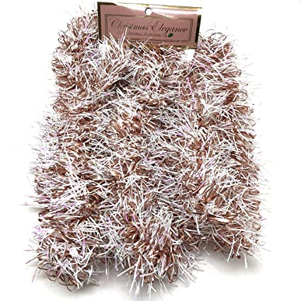 Christmas Elegance 90 Inch Thin Tinsel Center Loop Christmas Garland Rose Gold White