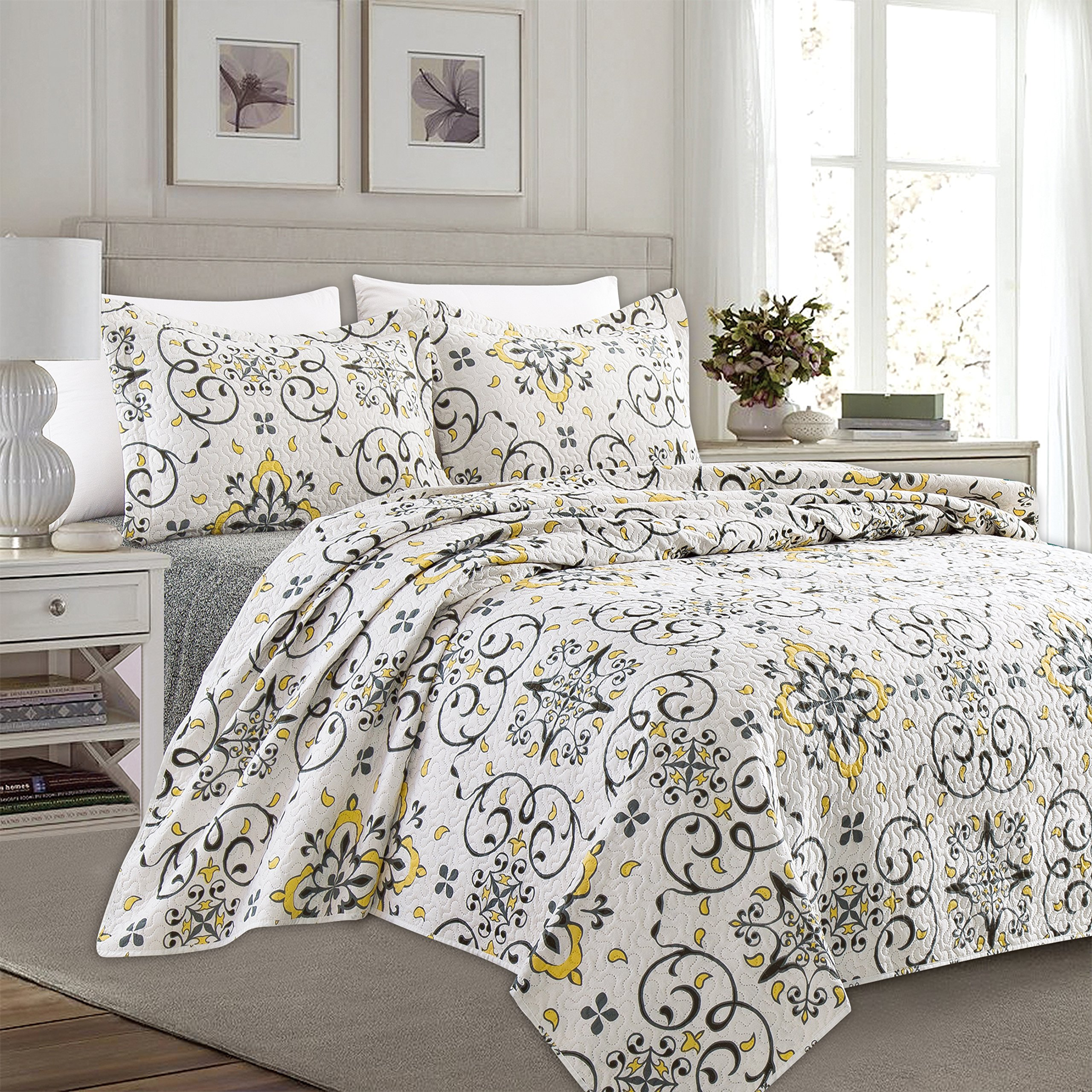 Home Fashion Designs 3-Piece Reversible Quilt Set with Shams. All-Season Bedspread with Floral Printed Pattern in Bright Colors. Collette Collection By Brand. (Twin, Multi)