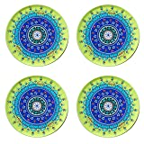 Bohemian Tin Drink Coasters - Yellow and Blue