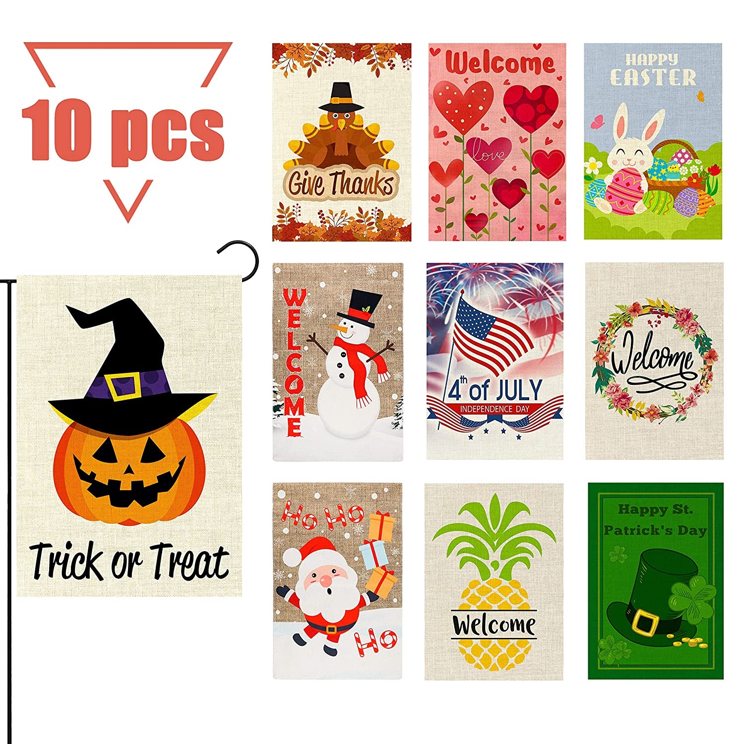 GROBRO7 10Pcs Seasonal Garden Flags Set Double Sided Print House Flag Burlap Holiday Flag Outdoor Decorative for Halloween Thanksgiving Christmas Valentine Easter Independence St. Patrick 12x18 Inch