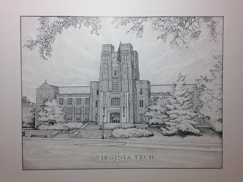 Virginia Tech Burruss Hall 11x14 Print