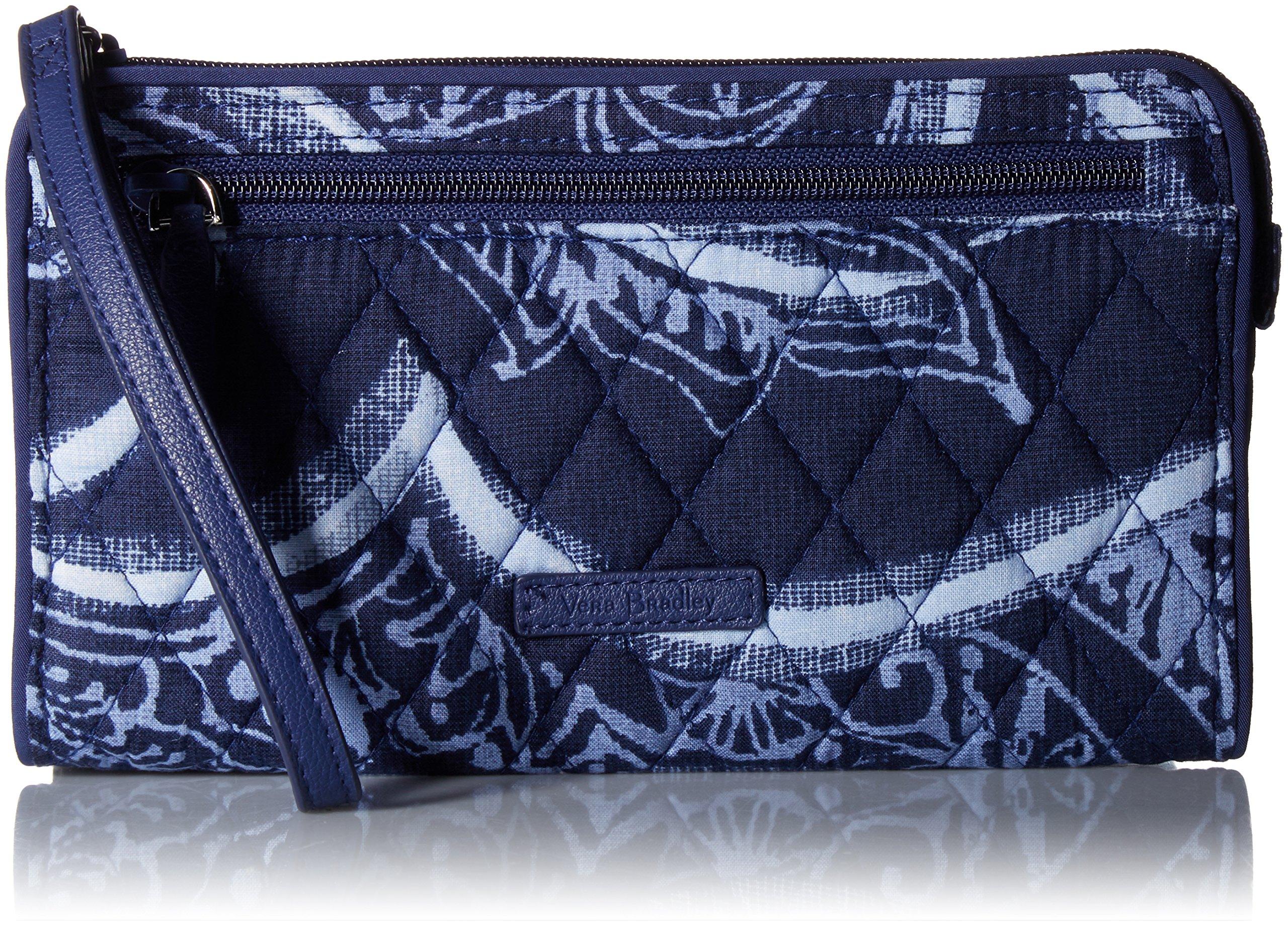 Vera Bradley Rfid Front Zip Wristlet, Signature Cotton,One Size,Indigo