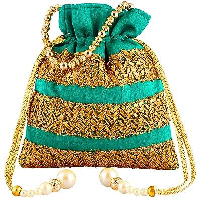 Bombay Haat Ethnic Rajasthani Potli Bag Clutch Bridal Green