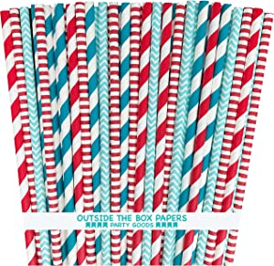 Outside the Box Papers Dr Seuss Theme Polka Dot and Striped Paper Straws 7.75 Inches 100 Pack Red, Light Blue, White
