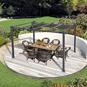 PURPLE LEAF 10' X 12' Aluminum Outdoor Retractable Canopy Pergola Deck Garden Patio Gazebo Grape Trellis Pergola, Gray