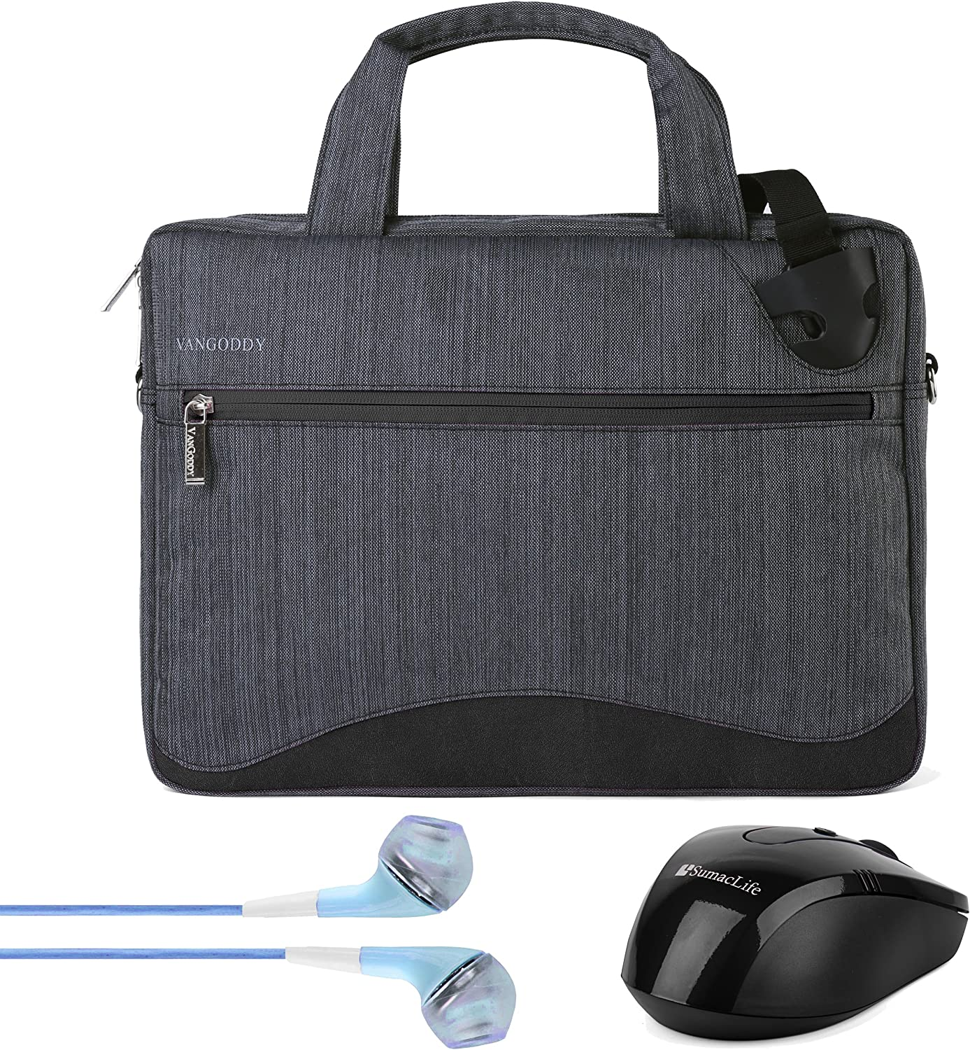 17 Inch Laptop Bag Nylon Water Resistant Anti Theft Messenger Bag for Acer Chromebook 15 15.6 inch, Aspire E, V Nitro, Asus X751, ROG Series 17.3 inch Laptop with Earphone and Wireless Mouse