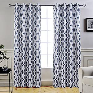"DriftAway Mason Thermal Blackout Grommet Window Curtains, Geometric Trellis Pattern, Set of Two Panels, Each Size 52""x84"" (Navy)"