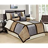 Amazon Price History for:7 Piece Brandy Patchwork Comforter Set Queen 4 Color (Coffee/Grey/White-04)