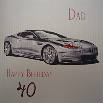 WHITE COTTON CARDS Astin Dad Happy Birthday 40quot Handmade 40th Card