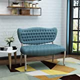 Jenny Traditional Blue Fabric Tufted Loveseat