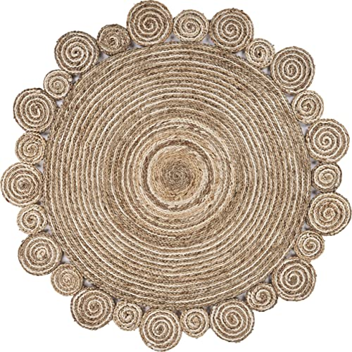LR Home Bleached and Natural Spiral Boutique Jute Rug, Bleach Natural, 7 6 Round