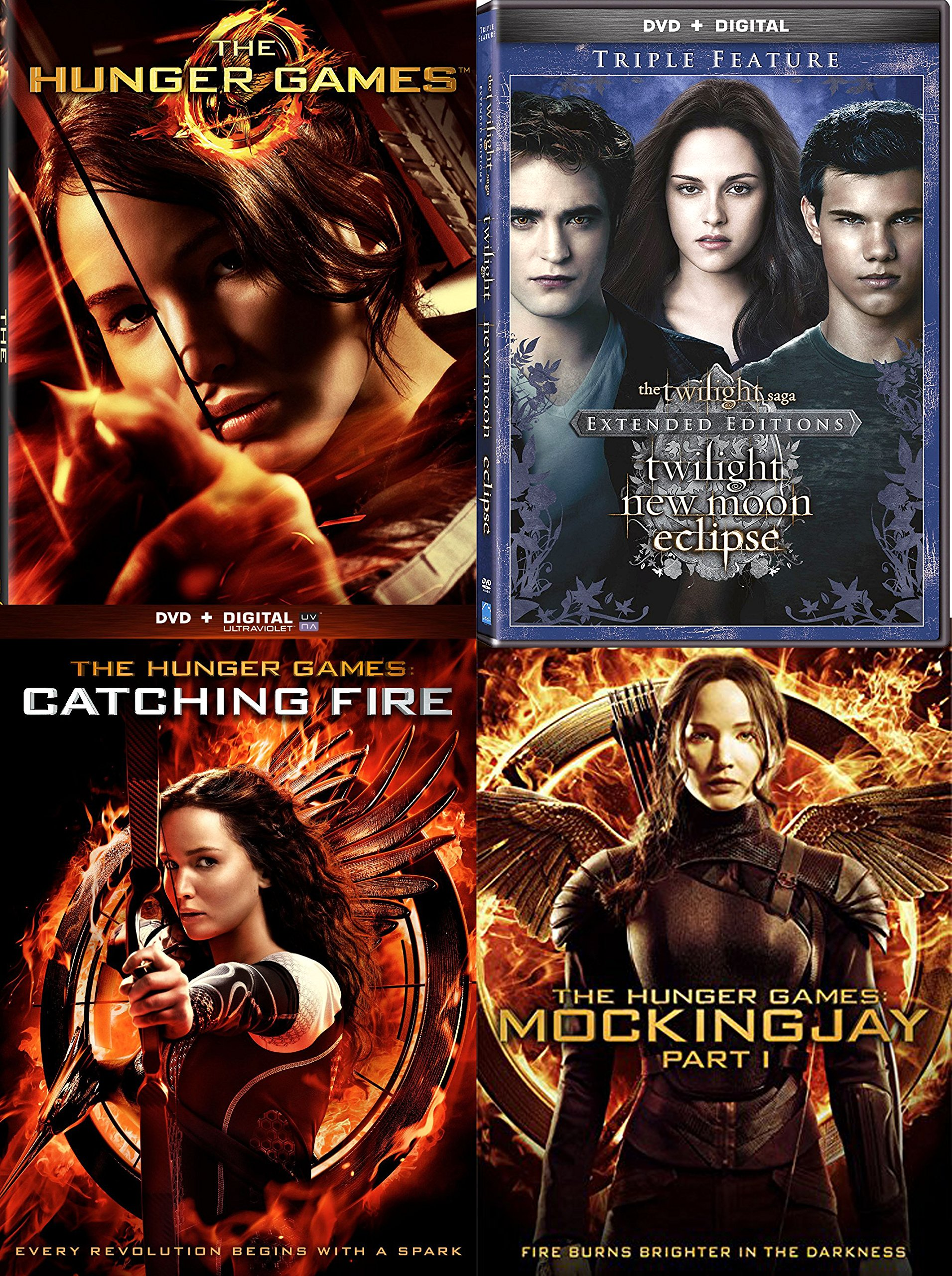 The Twilight Saga: Extended Edition Triple Feature New Moon / Eclipse DVD + The HUNGER GAMES Series 3 Movie Saga Catching Fire & Mockingjay pt.1 - 6 Disc collection by Lionsgate