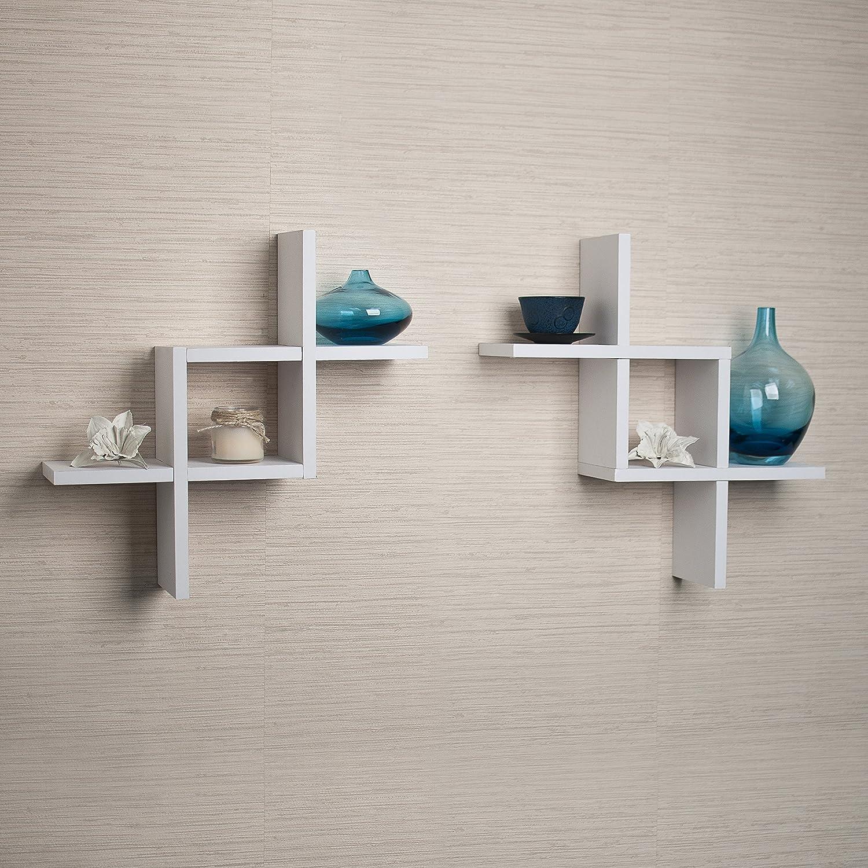 Danya B FF2513W Set of 2 Reversed Criss Cross White Shelves, 2: Home & Kitchen
