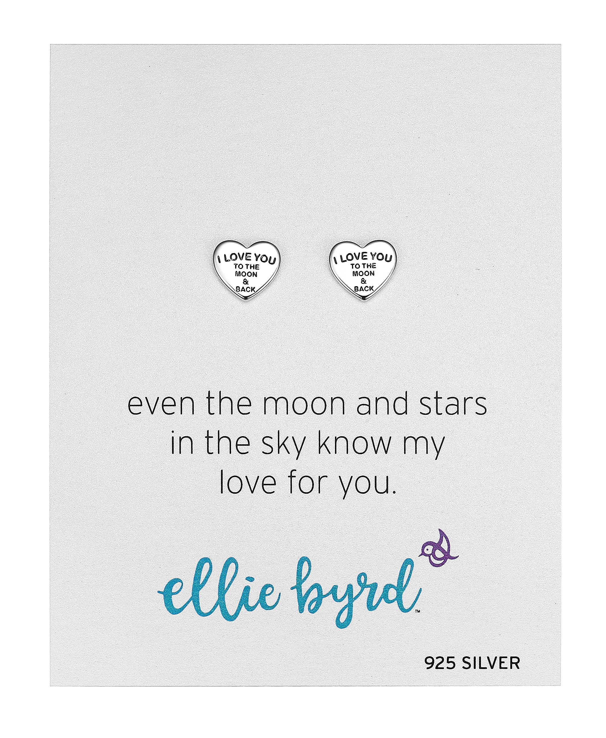 ellie byrd Sterling Silver''I Love You To The Moon & Back'' Sentiment Heart Stud Earrings