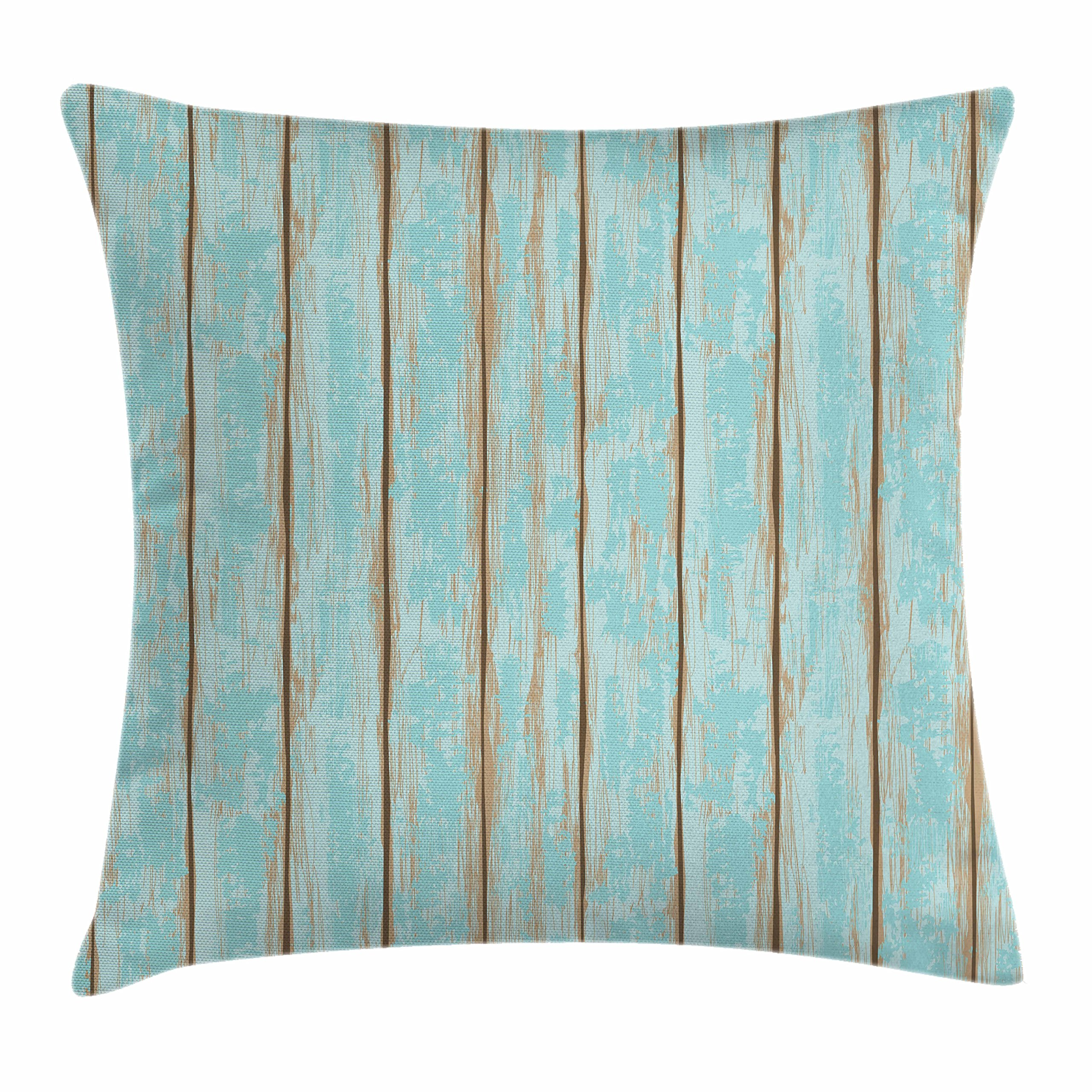 Lunarable Wood Print Throw Pillow Cushion Cover, Old Fashioned Weathered Rustic Planks Summer Cottage Beach Coastal Theme, Decorative Square Accent Pillow Case, 16 X 16 Inches, Pale Blue Tan