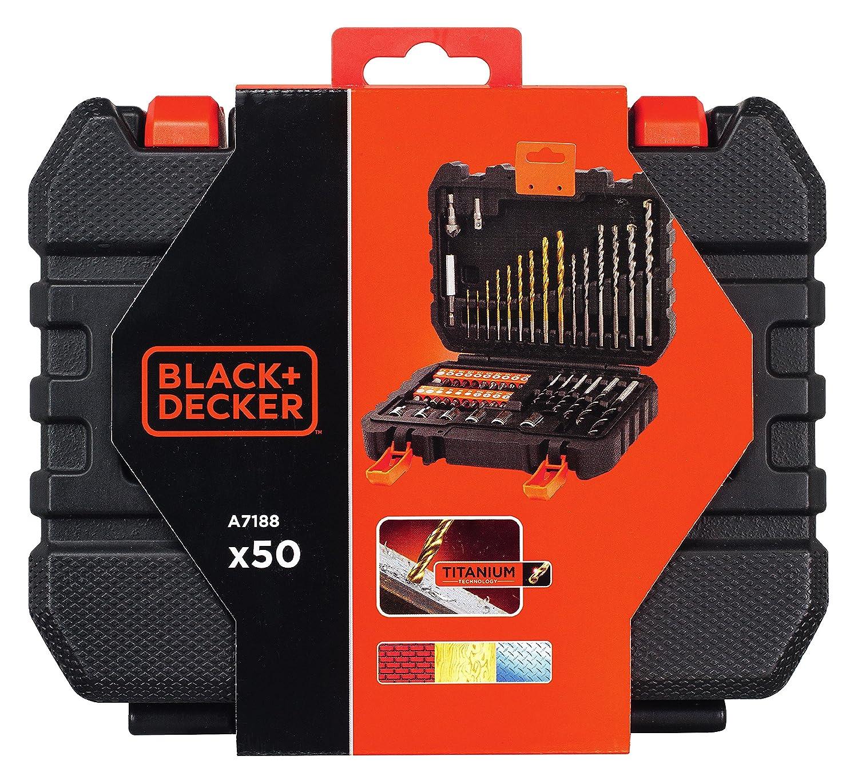 Coffret de Per/çage et Vissage 50 Pi/èces BLACK+DECKER A7188-XJ