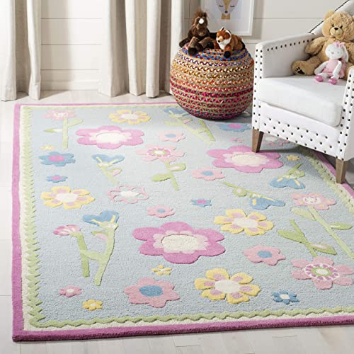 Safavieh Safavieh Kids Collection SFK311A Handmade Blue and Multi Cotton Area Rug 3 x 5