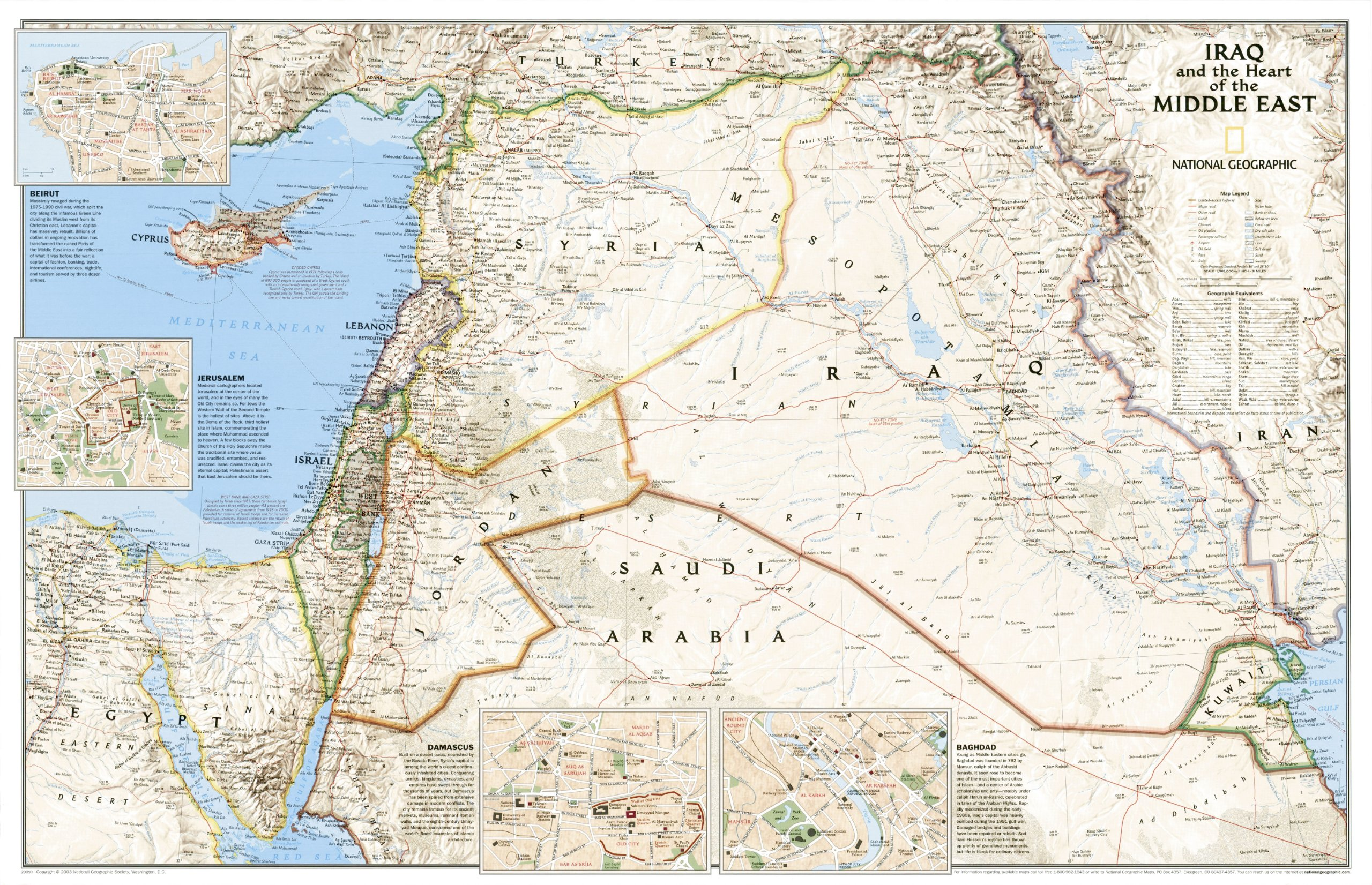 Middle East wIraq 2sided National Geographic Maps