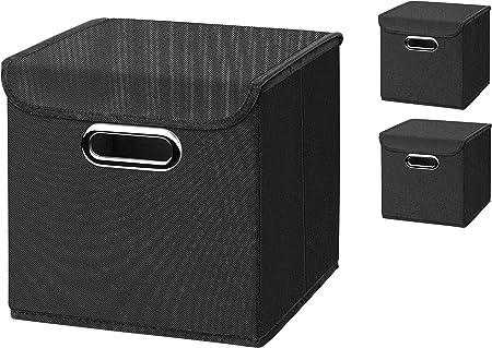 CM3 3 Pieza Negro Plegable Caja 25 X 25 X 25 CM Caja Plegable de ...
