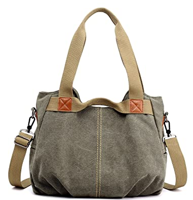 Z-joyee Women s Ladies Casual Vintage Hobo Canvas Daily Purse Top Handle Shoulder  Tote Shopper 9e4d7818d