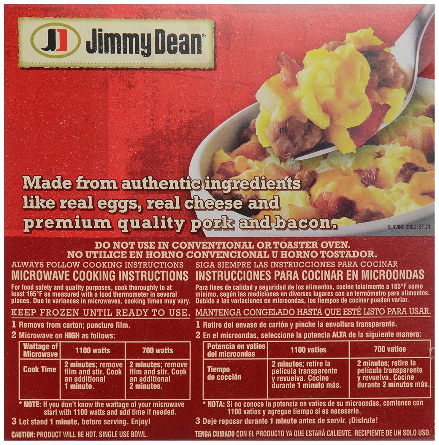 Jimmy Dean, Meat Lovers Breakfast Bowl, 7 oz (frozen): Amazon.com: Grocery & Gourmet Food