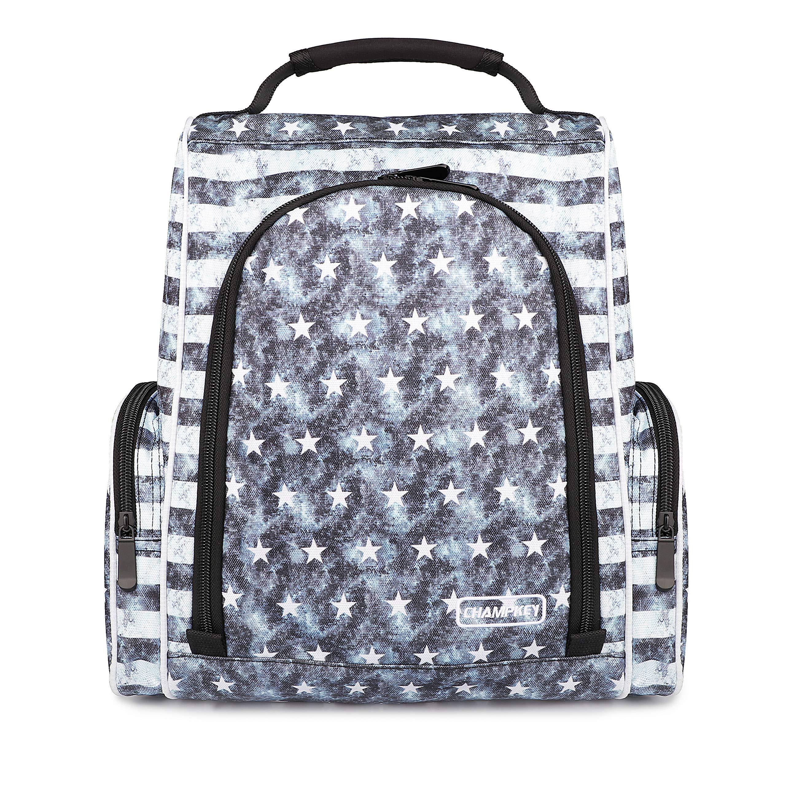 Champkey Custom Golf Shoe Bag - Zippered Shoe Carrier Bags with Outside Pocket for Socks, Tees,Divot,Mark etc. (USA-Hero, S(5-12 US Size)) by Champkey