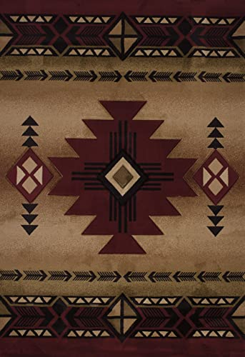United Weavers of America Contours Collection Flagstaff Heavyweight Heatset Olefin Rug, 5-Feet 3-Inch by 7-Feet 6-Inch, Burgundy