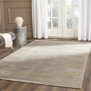 Safavieh Valencia Collection VAL104E Grey and Gold Vintage Distressed Silky Polyester Area Rug (6' x 9')