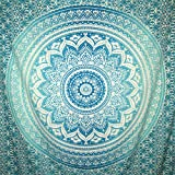 HomeFairy Teal and Green Mandala Tapestry Wall Hanging - Large Bohemian Hippie Art Decor - Indian Ombre Design - Long Lasting Vivid Colors Machine Washable - Queen Size 80 x 60 inch