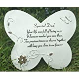 SPECIAL DAD Grave Memorial BUTTERFLY STONE Plaque Ornament Garden