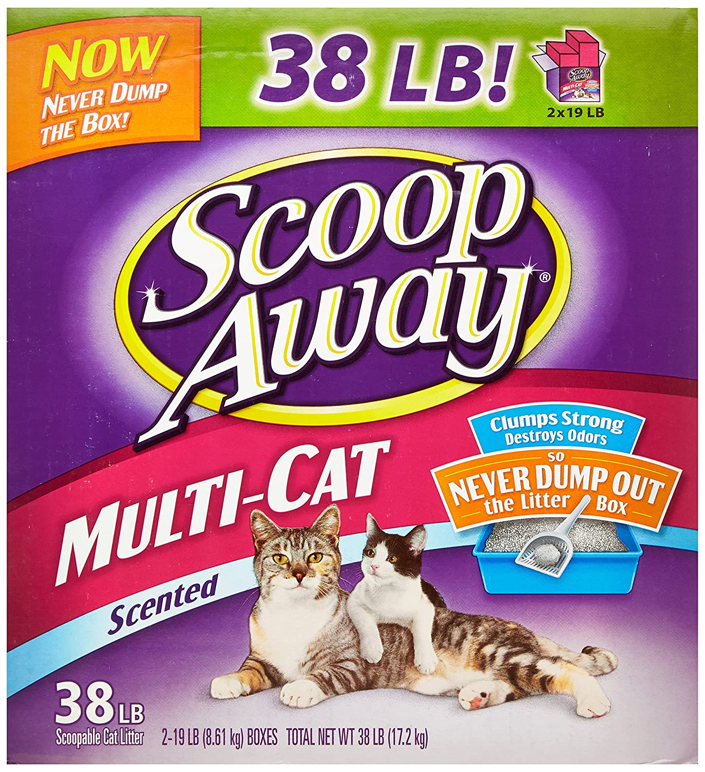 Scoop Away Multi Cat Scented Cat Litter 38 Pound Carton