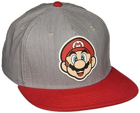 5bb6330302a Image Unavailable. Image not available for. Color  bioWorld Nintendo Super  Mario Bros - Mario Rubber Logo Snapback Cap