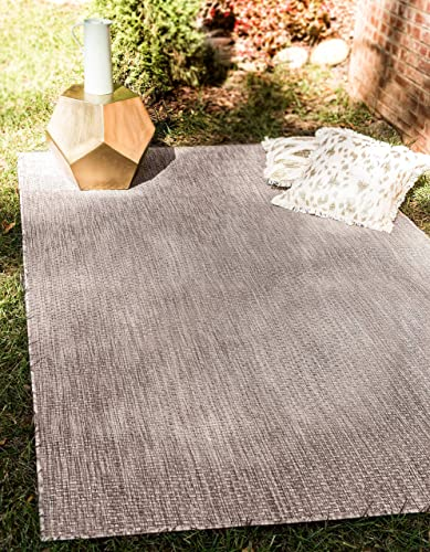 Unique Loom Outdoor Solid Collection Casual Transitional Indoor and Outdoor Flatweave Beige Area Rug 8' 0 x 11' 4