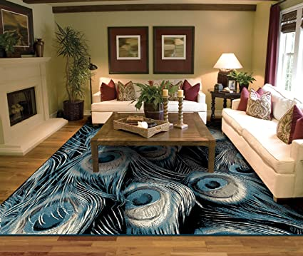 Amazon Com Luxury Peacock Black Area Rugs For Living Room 5x7