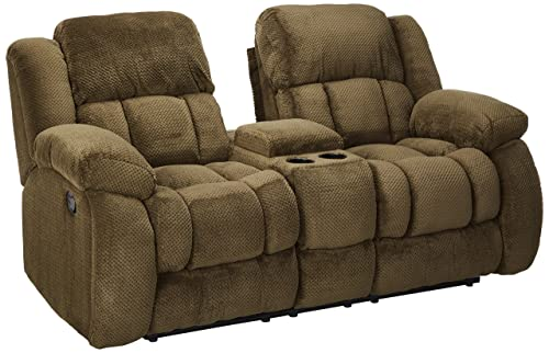Weissman Pillow Padded Reclining Loveseat with Cupholders and Storage Chocolate