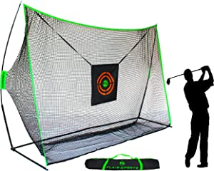 Flair Sports - Heavy Duty 10' x 7' Golf Hitting Net - Professional Series - Practice Driver, Irons, & Wedges - Indoor & Outdoor - Driving Range at Home - Neon Chipping Target - Swing Training