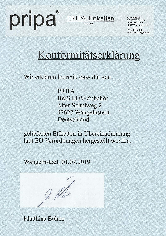 Pripa Confezione da 50/fogli da 4/etichette autoadesive DIN A4/105/x 148/mm
