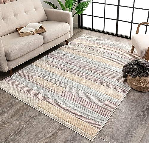 Well Woven Zipp Soft Pastel Multi Color Chevron Stripes Geometric Area Rug 8×10 7'10″ x 9'10″