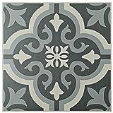 "SomerTile FTC8BRBK Bracara Ceramic Floor and Wall Tile, 7.75"" x 7.75"", Grey"