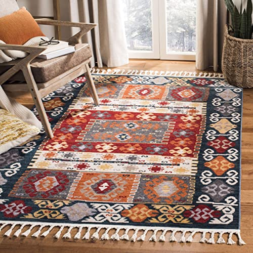Safavieh FMH847A-8 Farmhouse Collection FMH847A Cream and Navy Area 8' x 10' Rug