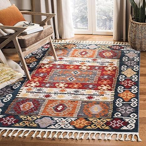 Amazon Com Safavieh Farmhouse Collection Fmh847a Boho Moroccan Tribal Tassel Area Rug 9 X 12 Cream Navy Furniture Decor