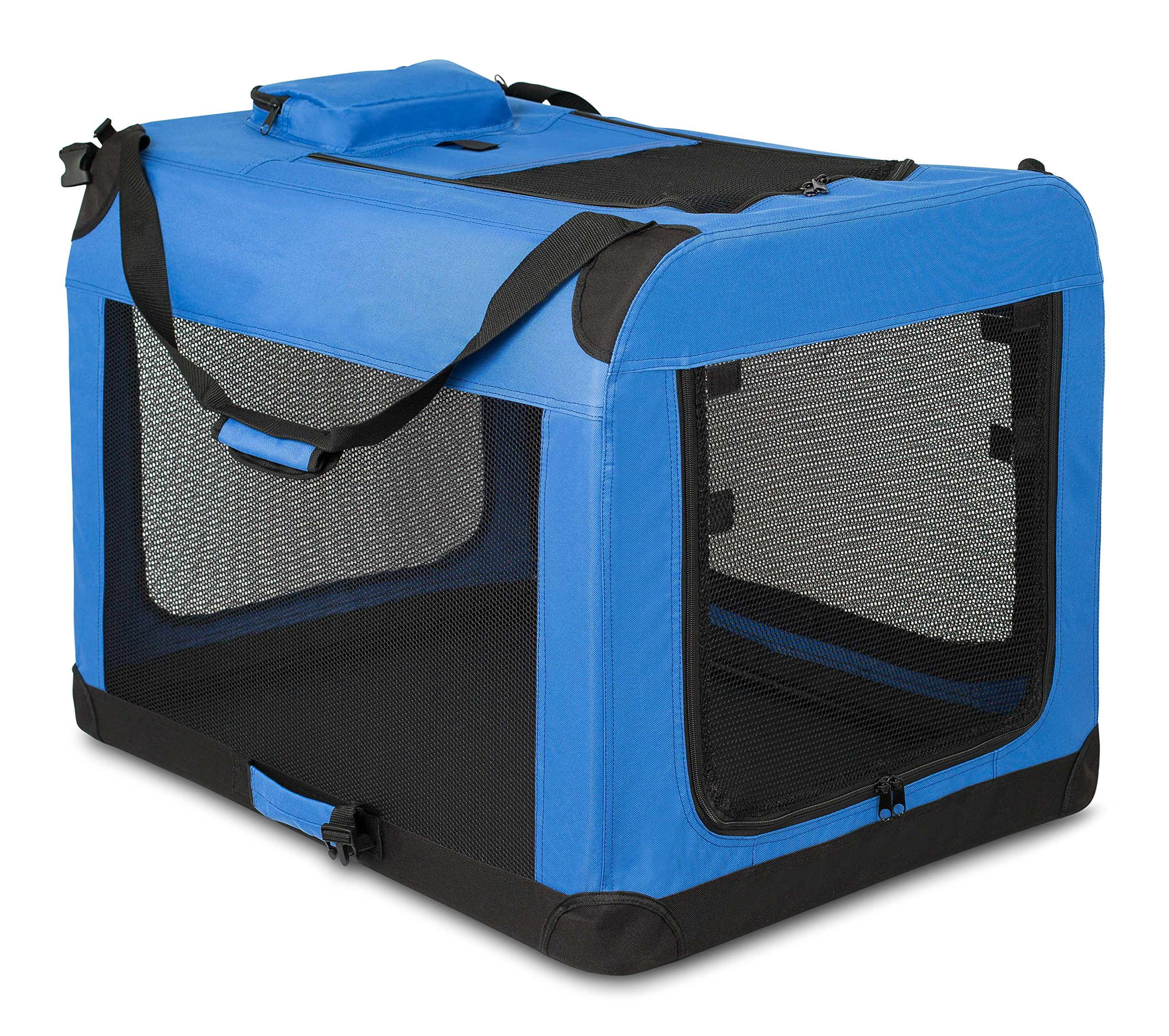Internet's Best Soft Sided Dog Crate | Large (32 Inches) | Mesh Kennel | Indoor Outdoor Pet Home | Travel Easy | Folding and Collapsible Cage | Blue