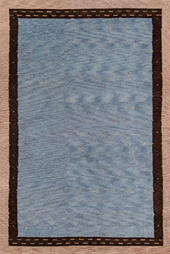 Momeni Rugs Desert Gabbeh Collection, 100 Wool Hand Knotted Contemporary Area Rug, 3 9 x 5 9 , Slate