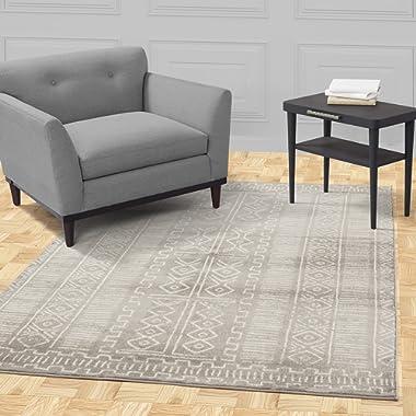 Diagona Designs Contemporary Traditional Moroccan Trellis Design 8' X 10' Area Rug, 94  W x 118  L, Gray / Ivory (JAS2123)