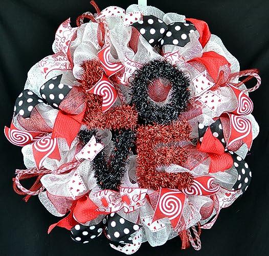 Amazon Com Valentine S Day Mesh Door Wreath Red White Black Love