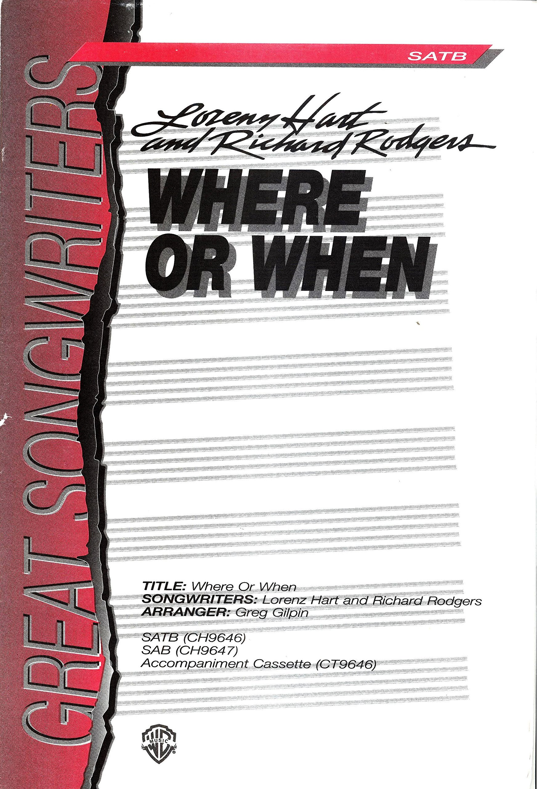 Where or When (SATB, Accompanied, with Optional Guitar, Bass and Drums)