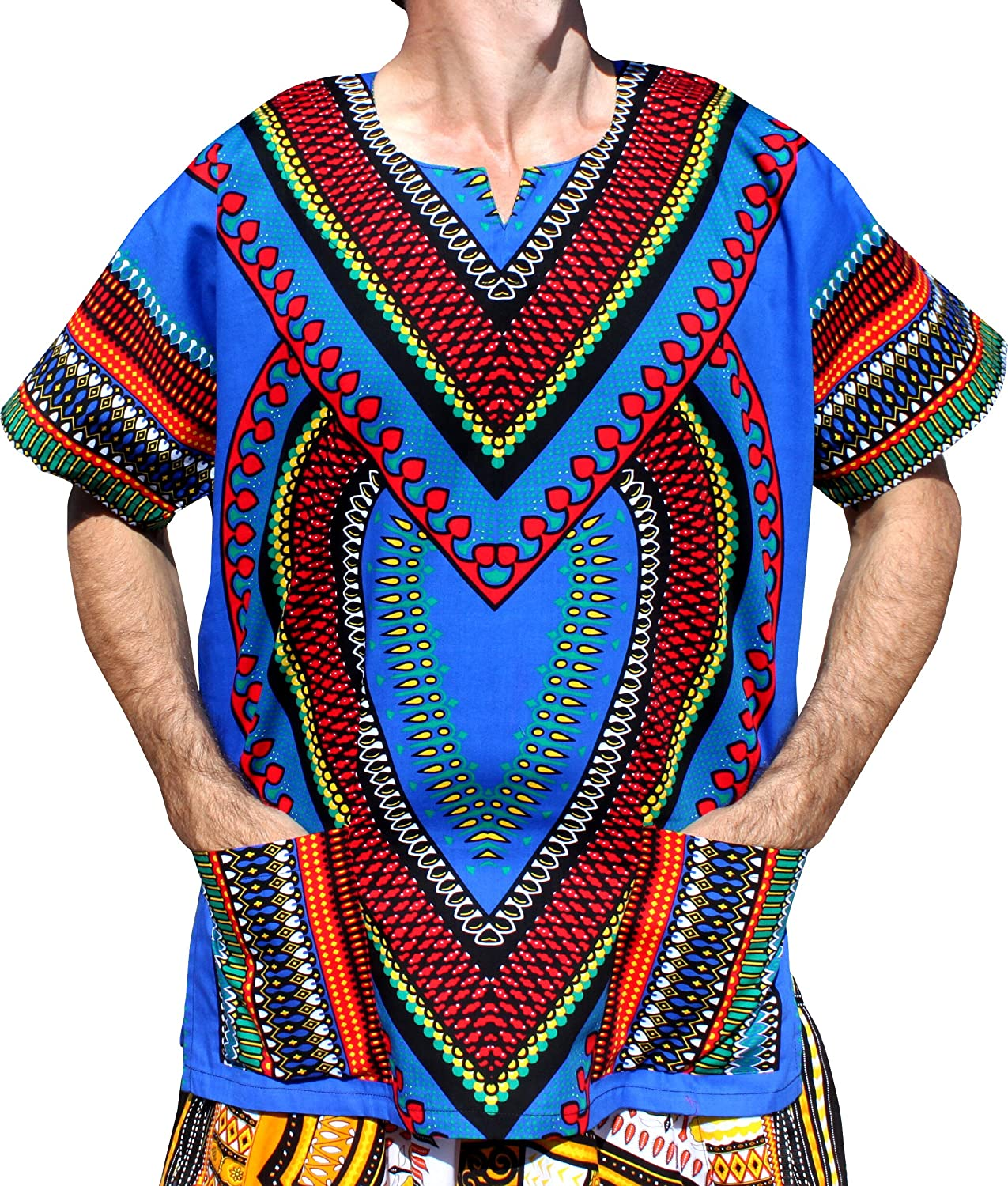bluee RaanPahMuang Spearhead Heart African Dashiki Shirt Vibrant colors Afrika Style