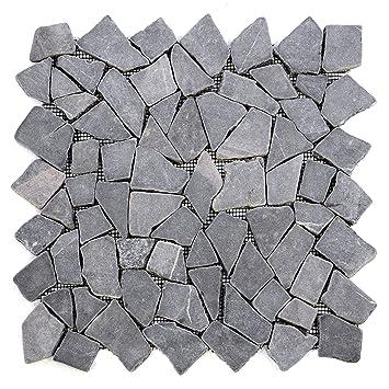 Divero 9 Matten 33 X 33cm Marmor Naturstein Mosaik Fliesen Für Wand Boden  Bruchstein Grau