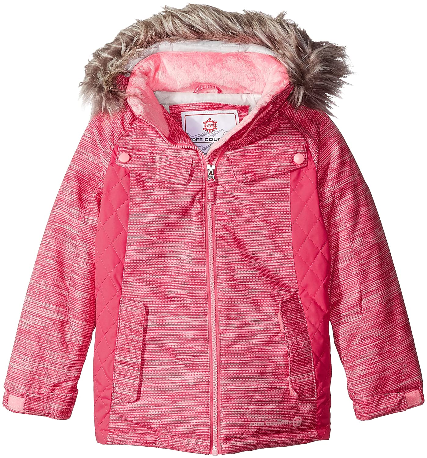 Free Country Girls' Heavy Weight Boarder Jacket with Removable Faux Fur Trimmed Hood 6223