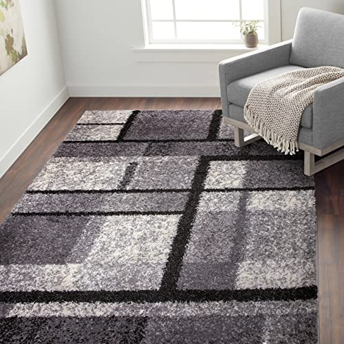 Rugshop Cozy Shag Contemporary Geometric Boxes Area Rug 7' 10″ x 10' Gray